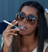 Jessica White smoking a cigarette (or weed)